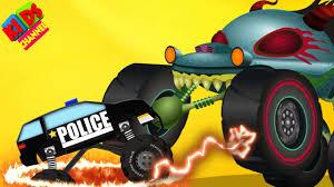 Haunted House Monster Truck Vs Police Monster Truck | Halloween ...