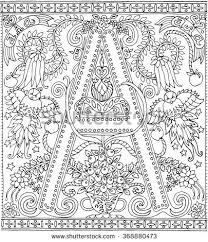 Adult Coloring Book Art Alphabet Letter A Zen Relaxation