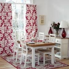 Red And White Floral Dining Room