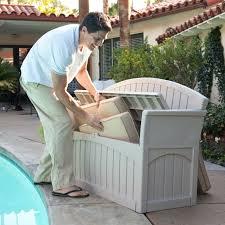 Suncast Outdoor Patio Furniture by Suncast Ultimate 50 Gallon Resin Patio Storage Bench Pb6700