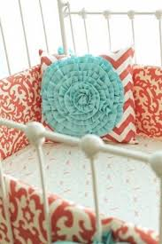Aqua And Coral Crib Bedding by Coral Damask Bedding Foter