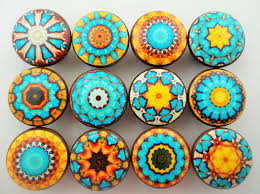 Pink Rose Dresser Knobs by Set Of 12 Aqua Blue And Yellow Mandala Cabinet Knobs Mandalas