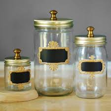 Rustic Kitchen Brass Hardware Mason Jar Storage Canisters For