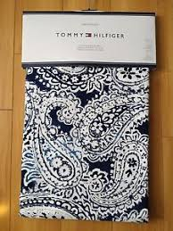 tommy hilfiger mission paisley navy blue white window curtain