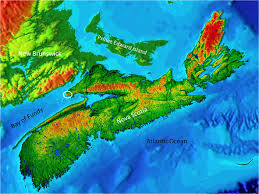 3 Relief Map Of Nova Scotia Prince Edward Island And Part New Brunswick The White Circle Indicates Cape Chignecto