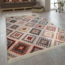 kurzflor teppich ethno rauten mehrfarbig