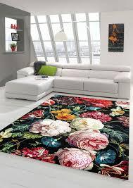 teppich blumen wohnzimmer teppich blumenstrauß in schwarz creme rot größe 80x150 cm