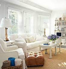 Beach Cottage Style Living Rooms Pastel Blue Walls Brown Wooden Laminate Flooring Soft Sofa White
