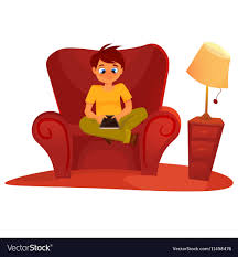 Boy Sitting On The Armchair And Playing Tablet