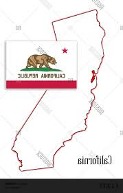 Stock Vector California State Map And Flag