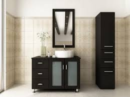 Bathroom Vanity With Tower Pictures by Remarkable Black Bathroom Vanity Table With Frosted Glass Cabinet