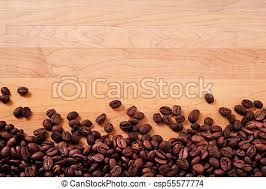 Coffee Beans Wood Background Border