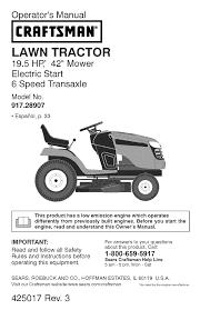 Craftsman Lt1000 Drive Belt Size by Craftsman Lawn Mower 917 289070 User Guide Manualsonline Com