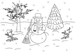 Winter Snowman Landscape Coloring Pages