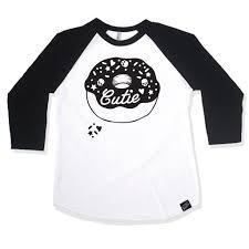 cutie donut girls black 3 4 sleeve raglan u2013 little misfits