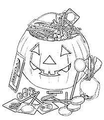Candy And Pumpkin Halloween Coloring Pages Kids Free