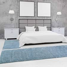 myshop24h bettumrandung teppich shaggy hochflor flauschig pastell einfarbig schlafzimmer farbe aqua