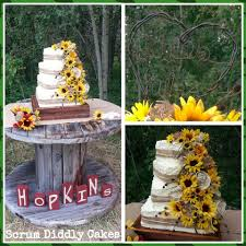 This Four Tier Square Wedding Cake With Offset Tiers Featured A Burlap Ribbon In The Middle Of Each Tied Twine Sunflowers Roses