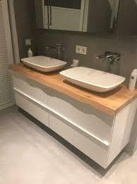 wasch tisch platte brett konsole ablage holz eiche bad wc wald