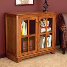 furnitures small simple brown wood bookcase with glass door home