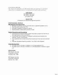 Pediatric Nurse Resume Fresh Resume For Kindergarten Teacher Fresher