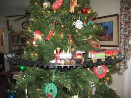 Ho Scale Layout Model Train Around Christmas Tree