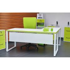 bureau blanc et bureau blanc et vert avec retour setico mobilier