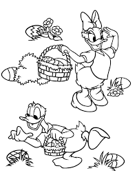 Donald And Daisy Collecting Easter Egg Disney Coloring Pages