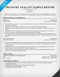 Treasury Analyst Resume Sample