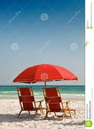 Red Beach Chairs And Umbrella Stock Photo - Image Of Canvas ...