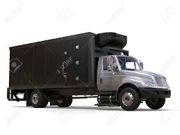 Silver Refrigerator Truck With Black Trailer Unit Stock Photo ...