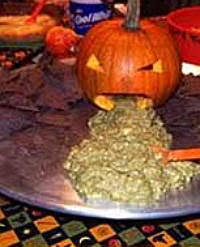 Picture Of Pumpkin Throwing Up Guacamole by Pick Me Halloween Dishes The Guacamole Puking Pumpkin