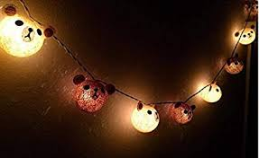 Teddy Bear Cotton Ball String Lights For Christmas Fairy Tree