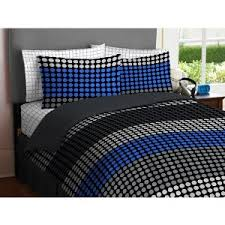 tween bedding sets for boys boy blue gray black circle dot grid
