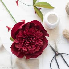 September Member Make Challenge Crepe Paper Red Charm Peony Flowers