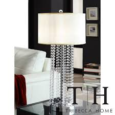 Pottery Barn Crystal Table Lamps by Tribecca Home Saxton 1 Light Crystal Chrome Table Lamp Overstock