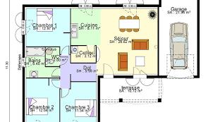 plan maison contemporaine plain pied 3 chambres plan maison plain pied 3 chambres 100m2 simple plan de maison