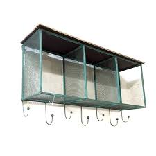 Wire Wall Shelf And Hooks Teal