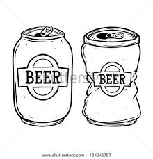 Broken beer can using doodle art on white background