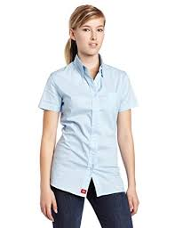 Dickies Girl Juniors Short Sleeve Button Front Poplin ShirtBaby BlueSmall