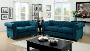Stanford Dark Teal Fabric Living Room Set From Furniture Of America CM6269TL SF