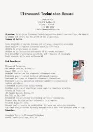 Ultrasound Resume Exles by Ultrasound Technician Resume Sle Rad Tech Resume Objective