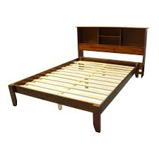 scandinavia king size solid bamboo wood platform bed with bookcase