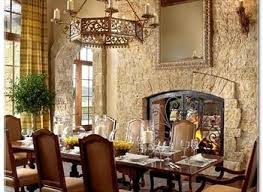 Rustic Dining Room Tuscan Decor Stone Wall Fireplace Solid Wood
