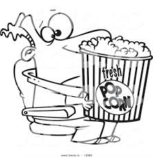 Coloring Pages Vector Cartoon Movie Man Holding Big Bucket Popcorn Outlined Page Colored Using