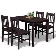 Costway: Costway 5PCS Solid Pine Wood Dining Set Table And 4 Chairs Home  Kitchen Furniture Brown | Rakuten.com Details About Ding Table And 4 Chairs Set Solid Pine Wooden Kitchen Home Fniture White Life Carver Wood 118cm Large Contemporary Funiture 118 76 73cm Canterbury With Bench Solid Pine Ding Table Chairs Yosemite 5 Piece Round Side Ivory Charm X90cm Salto With And Room Sets 1 Corona Costway 5pcs Brown Rakutencom Yakoe