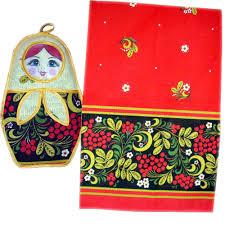 100 Matryoshka Kitchen Khokhloma Souvenir Set Of 2 Potholder And Towel A200451