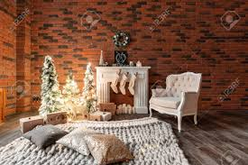 100 Brick Loft Apartments Wall With Candles And Christmas Tree Wreath