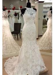 2018 Retro High Neck Mermaid Lace Wedding Dresses Sleeveless Vintage Bridal Dress BA3705