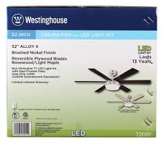 Westinghouse Ceiling Fan Light Kit Instructions by Westinghouse 7205100 Contemporary Alloy Ii 52 Inch Brushed Nickel